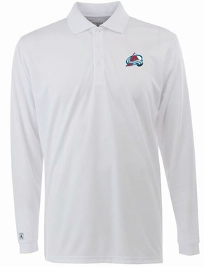 Colorado Avalanche Mens Long Sleeve Polo Shirt (Color: White)