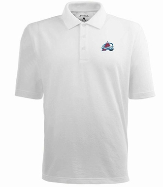 Colorado Avalanche Mens Pique Xtra Lite Polo Shirt (Color: White)