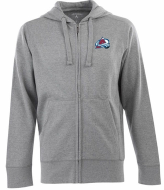 Colorado Avalanche Mens Signature Full Zip Hooded Sweatshirt (Color: Gray)