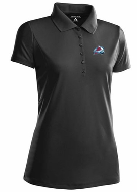 Colorado Avalanche Womens Pique Xtra Lite Polo Shirt (Color: Black) - X-Large