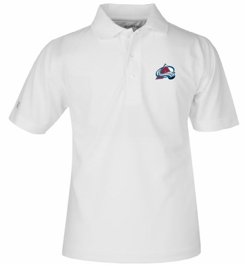 Colorado Avalanche YOUTH Unisex Pique Polo Shirt (Color: White)