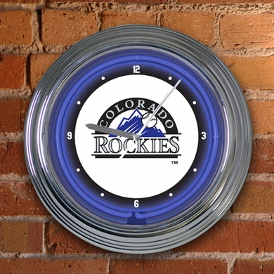 Colorado Rockies 15 Inch Neon Clock