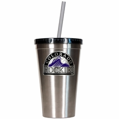 Colorado Rockies 16oz Stainless Steel Insulated Tumbler with Straw
