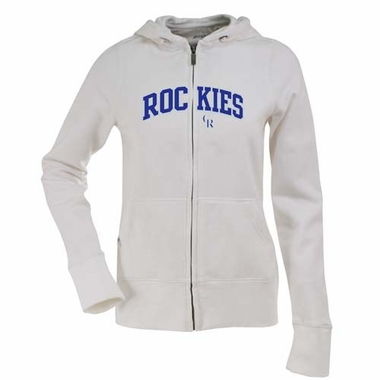 Colorado Rockies Applique Womens Zip Front Hoody Sweatshirt (Color: White)