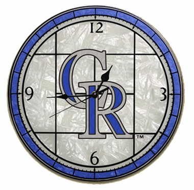 Colorado Rockies Art Glass Clock