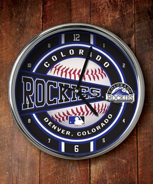 Colorado Rockies Chrome Clock