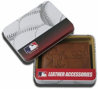 Colorado Rockies Embossed Leather Trifold Wallet