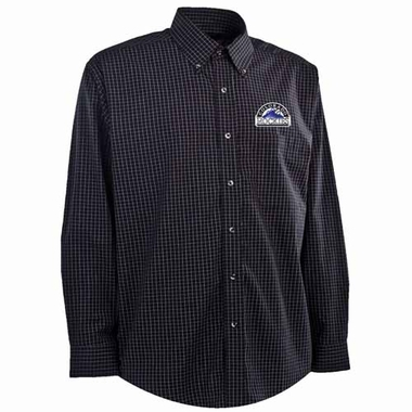 Colorado Rockies Mens Esteem Button Down Dress Shirt (Team Color: Black)