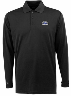 Colorado Rockies Mens Long Sleeve Polo Shirt (Team Color: Navy)