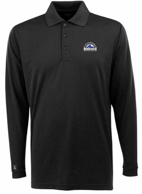 Colorado Rockies Mens Long Sleeve Polo Shirt (Color: Navy)