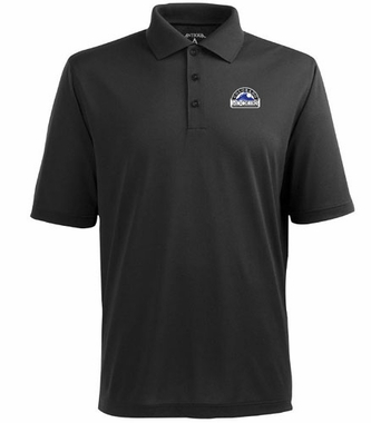 Colorado Rockies Mens Pique Xtra Lite Polo Shirt (Color: Black)