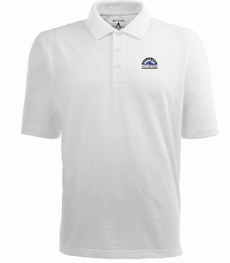 Colorado Rockies Mens Pique Xtra Lite Polo Shirt (Color: White)