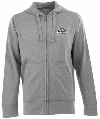 Colorado Rockies Mens Signature Full Zip Hooded Sweatshirt (Color: Gray)