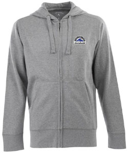 Colorado Rockies Mens Signature Full Zip Hooded Sweatshirt (Color: Gray) - Medium