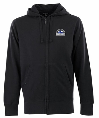 Colorado Rockies Mens Signature Full Zip Hooded Sweatshirt (Color: Black)
