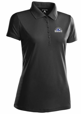 Colorado Rockies Womens Pique Xtra Lite Polo Shirt (Color: Black)