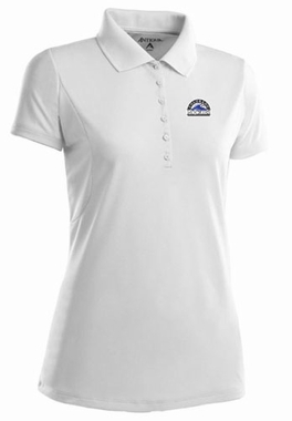 Colorado Rockies Womens Pique Xtra Lite Polo Shirt (Color: White)