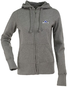 Colorado Rockies Womens Zip Front Hoody Sweatshirt (Color: Gray) - Large