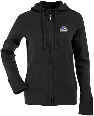 Colorado Rockies Womens Zip Front Hoody Sweatshirt (Team Color: Black)