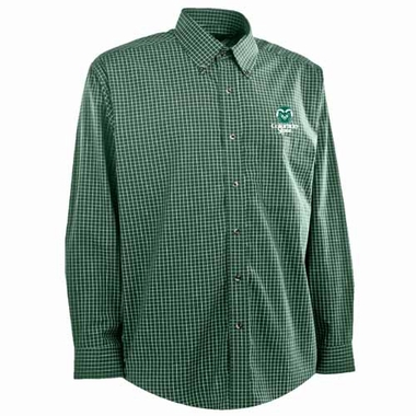 Colorado State Mens Esteem Check Pattern Button Down Dress Shirt (Team Color: Green)