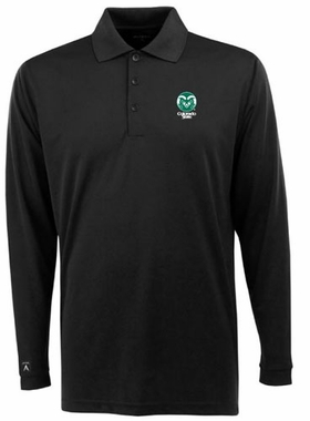 Colorado State Mens Long Sleeve Polo Shirt (Team Color: Black)