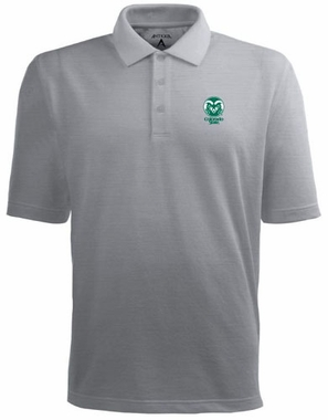 Colorado State Mens Pique Xtra Lite Polo Shirt (Color: Gray)
