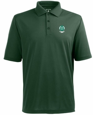 Colorado State Mens Pique Xtra Lite Polo Shirt (Color: Green)
