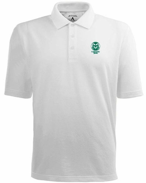 Colorado State Mens Pique Xtra Lite Polo Shirt (Color: White)