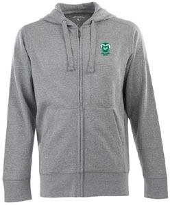 Colorado State Mens Signature Full Zip Hooded Sweatshirt (Color: Gray) - Large