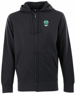 Colorado State Mens Signature Full Zip Hooded Sweatshirt (Color: Black)