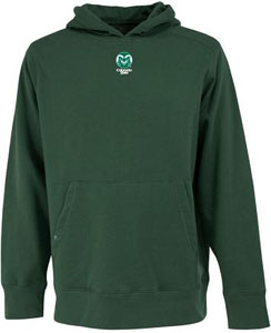 Colorado State Mens Signature Hooded Sweatshirt (Color: Green) - Small