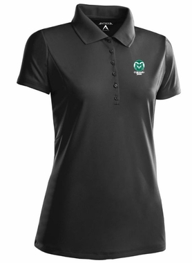 Colorado State Womens Pique Xtra Lite Polo Shirt (Color: Black)