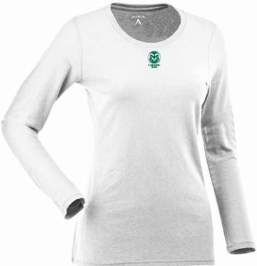 Colorado State Womens Relax Long Sleeve Tee (Color: White)
