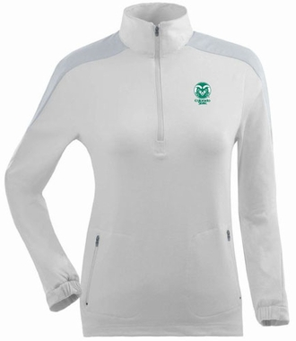 Colorado State Womens Succeed 1/4 Zip Performance Pullover (Color: White)