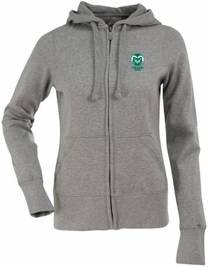 Colorado State Womens Zip Front Hoody Sweatshirt (Color: Gray)