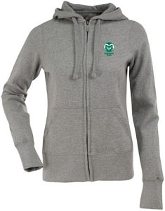 Colorado State Womens Zip Front Hoody Sweatshirt (Color: Gray) - Large