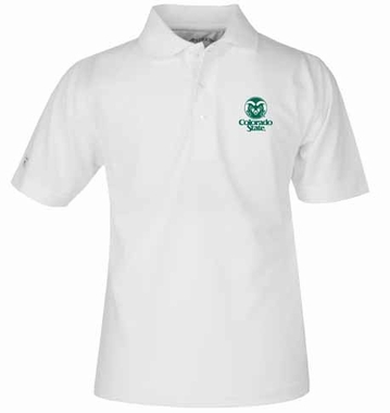 Colorado State YOUTH Unisex Pique Polo Shirt (Color: White)