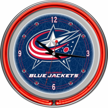 Columbus Blue Jackets 14 Inch Neon Clock