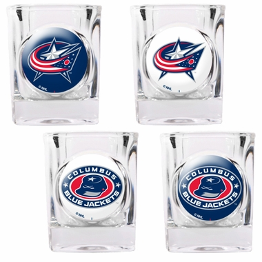Columbus Blue Jackets 4 Piece Assorted Shot Glass Set