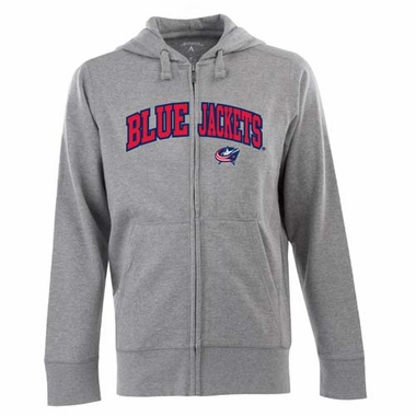 Columbus Blue Jackets Mens Applique Full Zip Hooded Sweatshirt (Color: Gray)