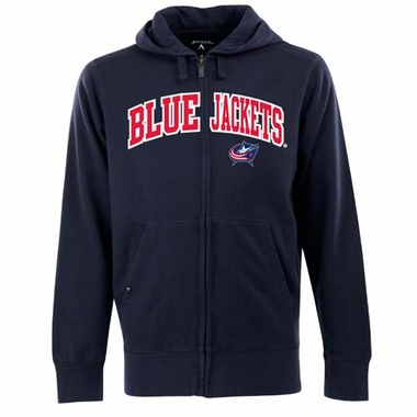 Columbus Blue Jackets Mens Applique Full Zip Hooded Sweatshirt (Color: Navy)