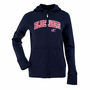 Columbus Blue Jackets Applique Womens Zip Front Hoody Sweatshirt (Color: Navy)