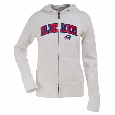 Columbus Blue Jackets Applique Womens Zip Front Hoody Sweatshirt (Color: White)