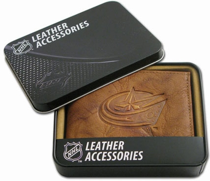 Columbus Blue Jackets Embossed Leather Bifold Wallet