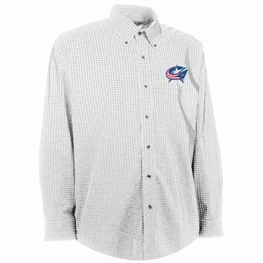 Columbus Blue Jackets Mens Esteem Check Pattern Button Down Dress Shirt (Color: White)