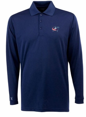 Columbus Blue Jackets Mens Long Sleeve Polo Shirt (Color: Navy)