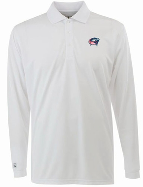 Columbus Blue Jackets Mens Long Sleeve Polo Shirt (Color: White)