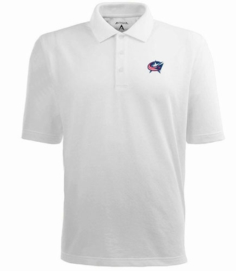 Columbus Blue Jackets Mens Pique Xtra Lite Polo Shirt (Color: White)