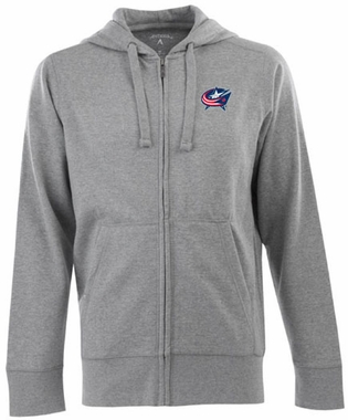Columbus Blue Jackets Mens Signature Full Zip Hooded Sweatshirt (Color: Gray)