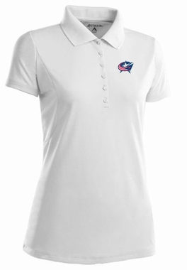 Columbus Blue Jackets Womens Pique Xtra Lite Polo Shirt (Color: White)